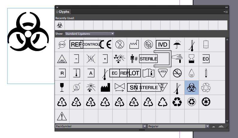 Selecting packaging symbol from Adobe Glyphs pane